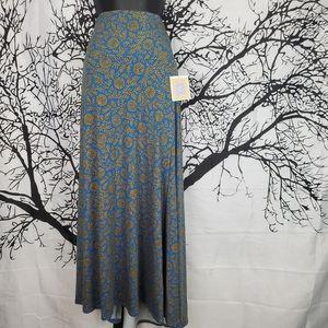 LuLaRoe Maxi Skirt Blue and Gold Yellow Print 2XL